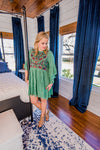 Green Embroidered Babydoll Tunic