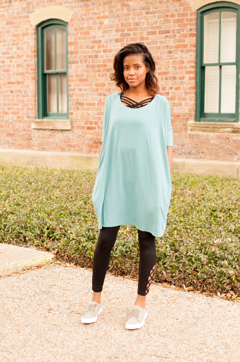 Oversized Elbow Length Sleeve Tunic in Teal