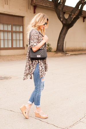 Distressed Leopard Poncho Top