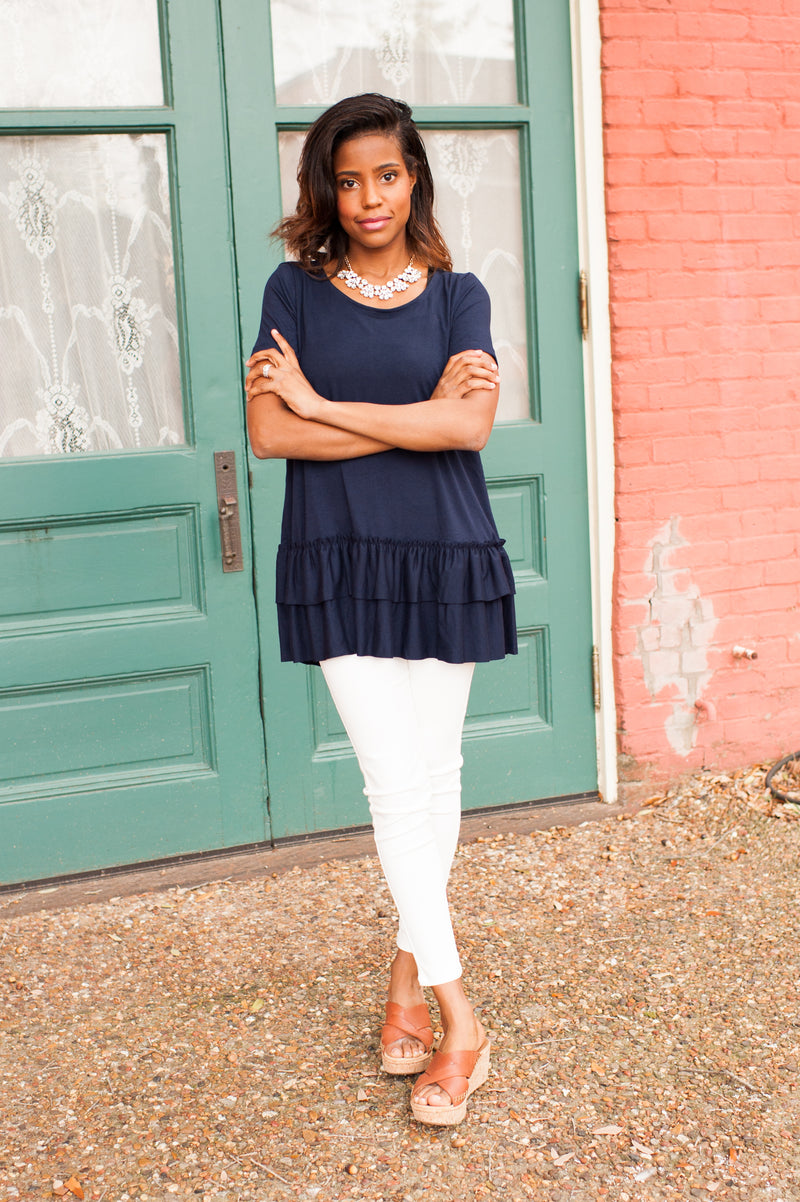 Ruffle Bottom Tunic in Navy