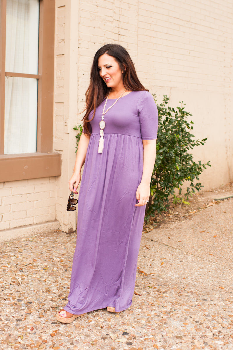 Elbow Length Sleeve Maxi Dress in Lilac