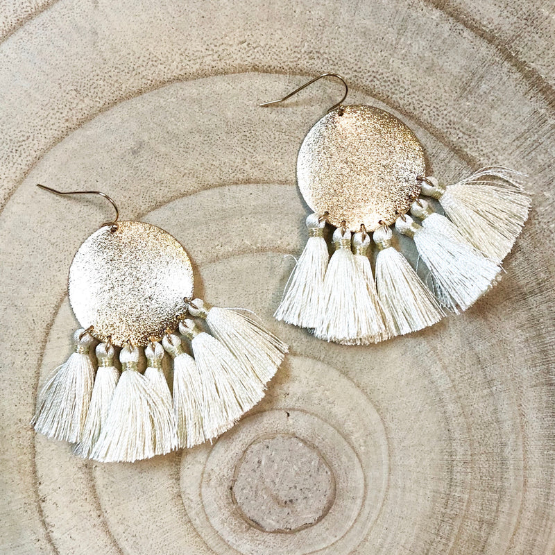 Ivory Silk Tassel Earrings