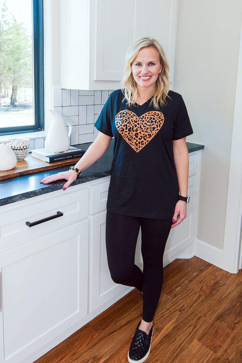 Black Leopard Heart T-Shirt