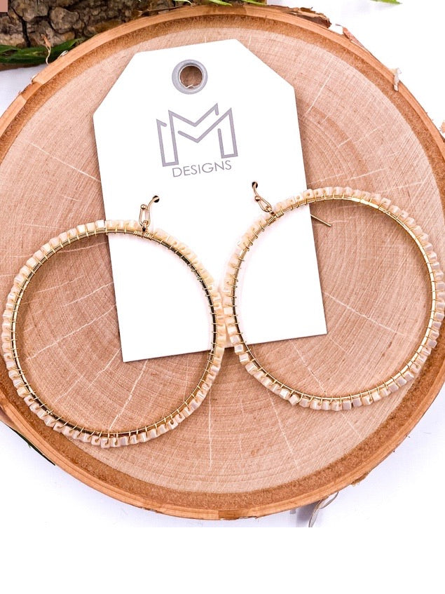 Ivory Beaded Ring Earrings
