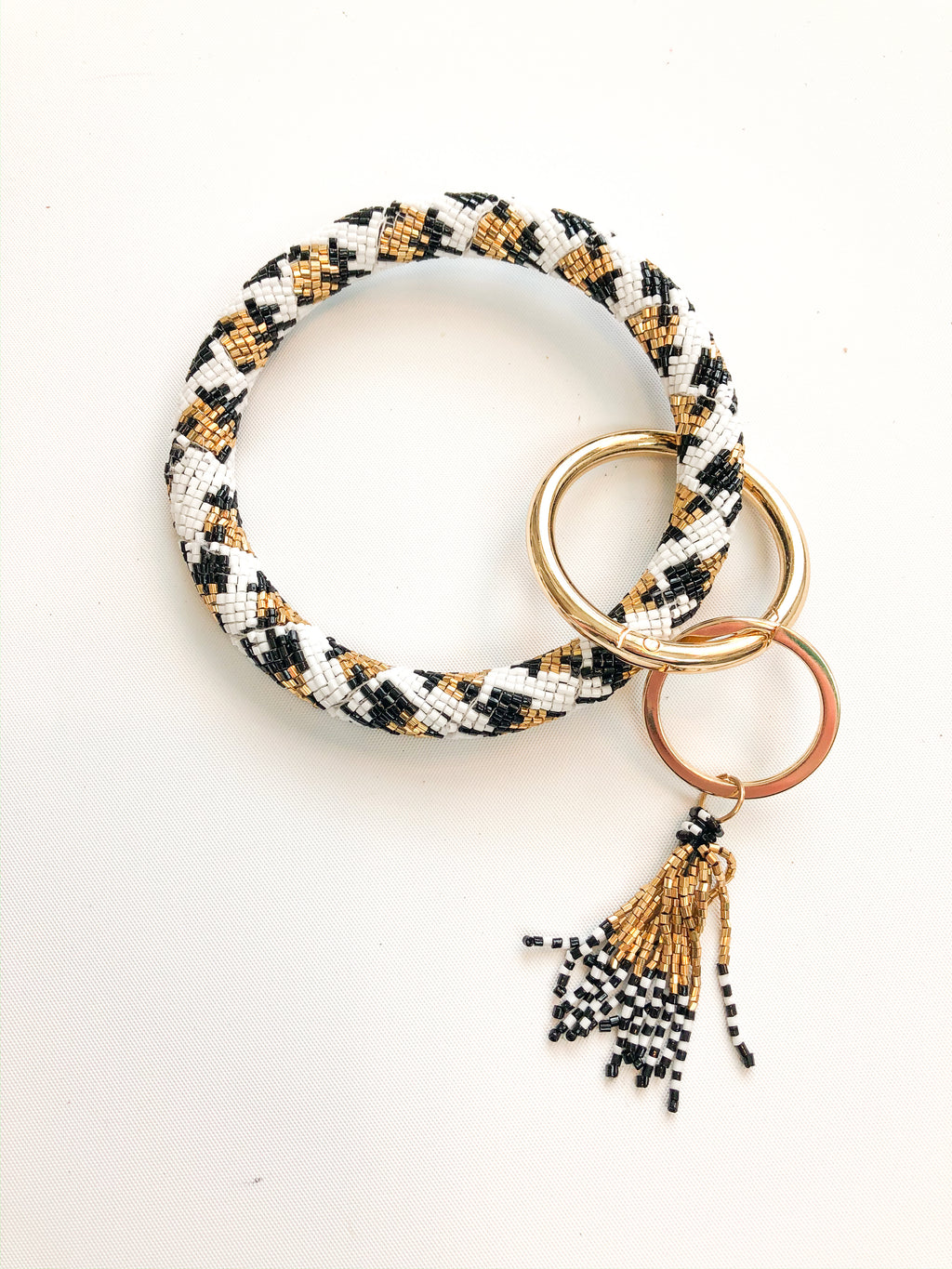 Beaded Leopard Key Ring