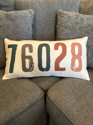 76028 Zip Code Pillow Cover