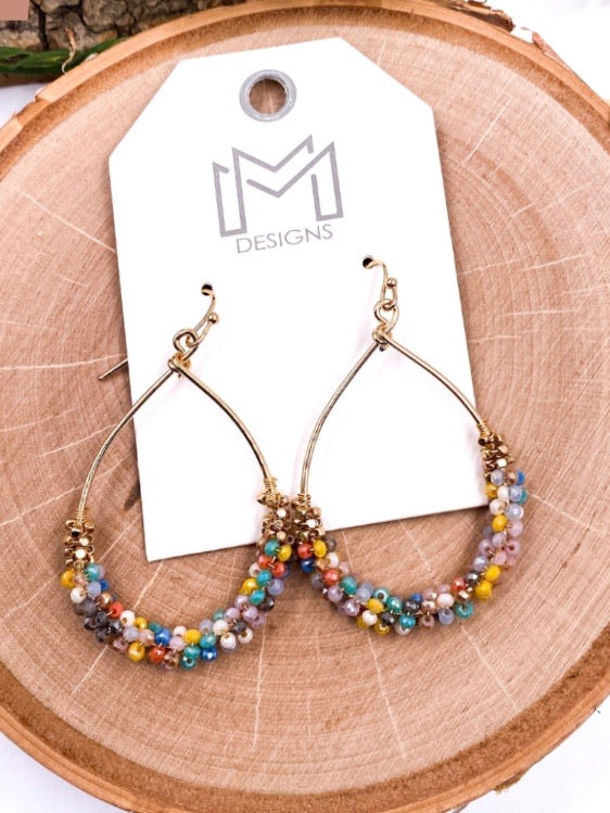 Multi Colored Teardrop Beaded Earrings