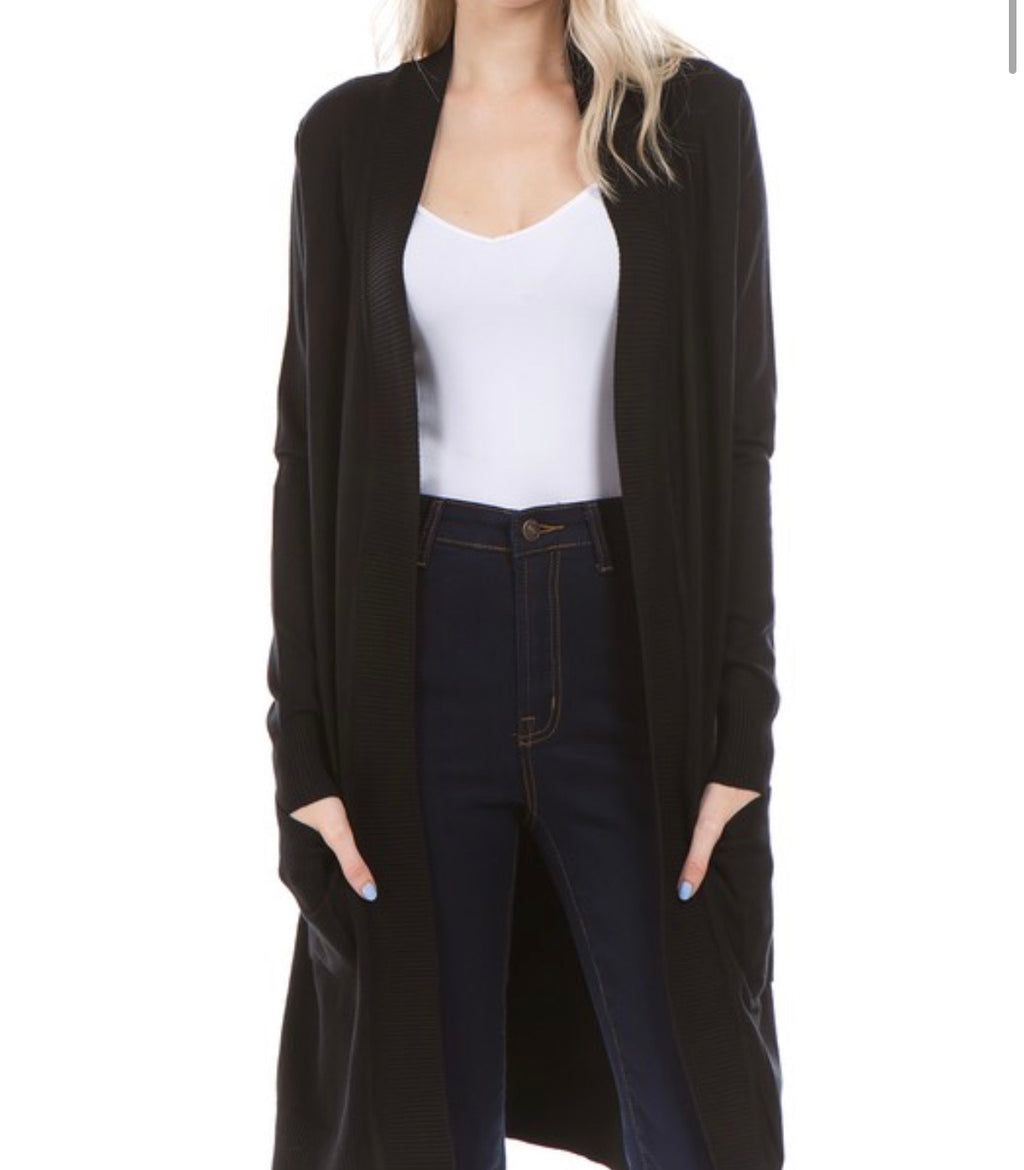 Long Open Front Cardigan in Black