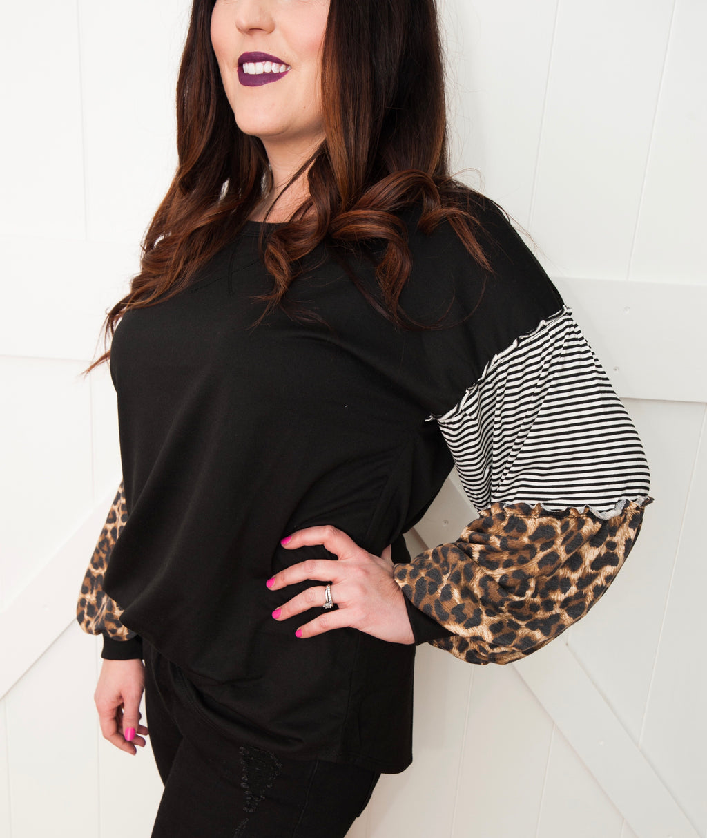 Black and Leopard Puff Sleeve Top