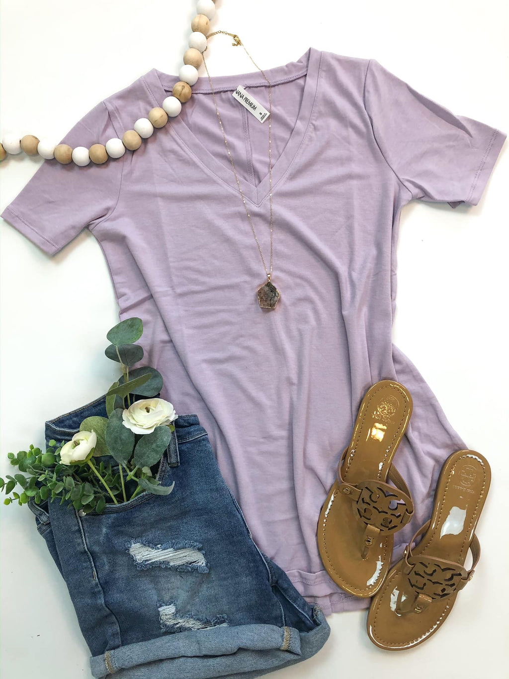 Premium V Neck T-Shirt in Lilac