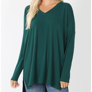 Long Sleeve Dolman Top in Green