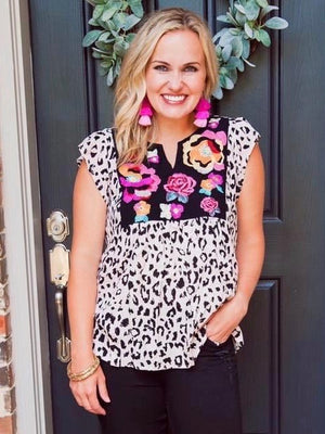 Leopard and Floral Embroidered Top