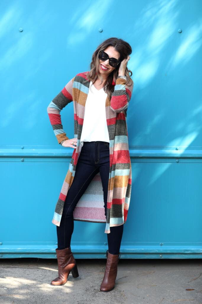 Mid Thigh Striped Cardigan