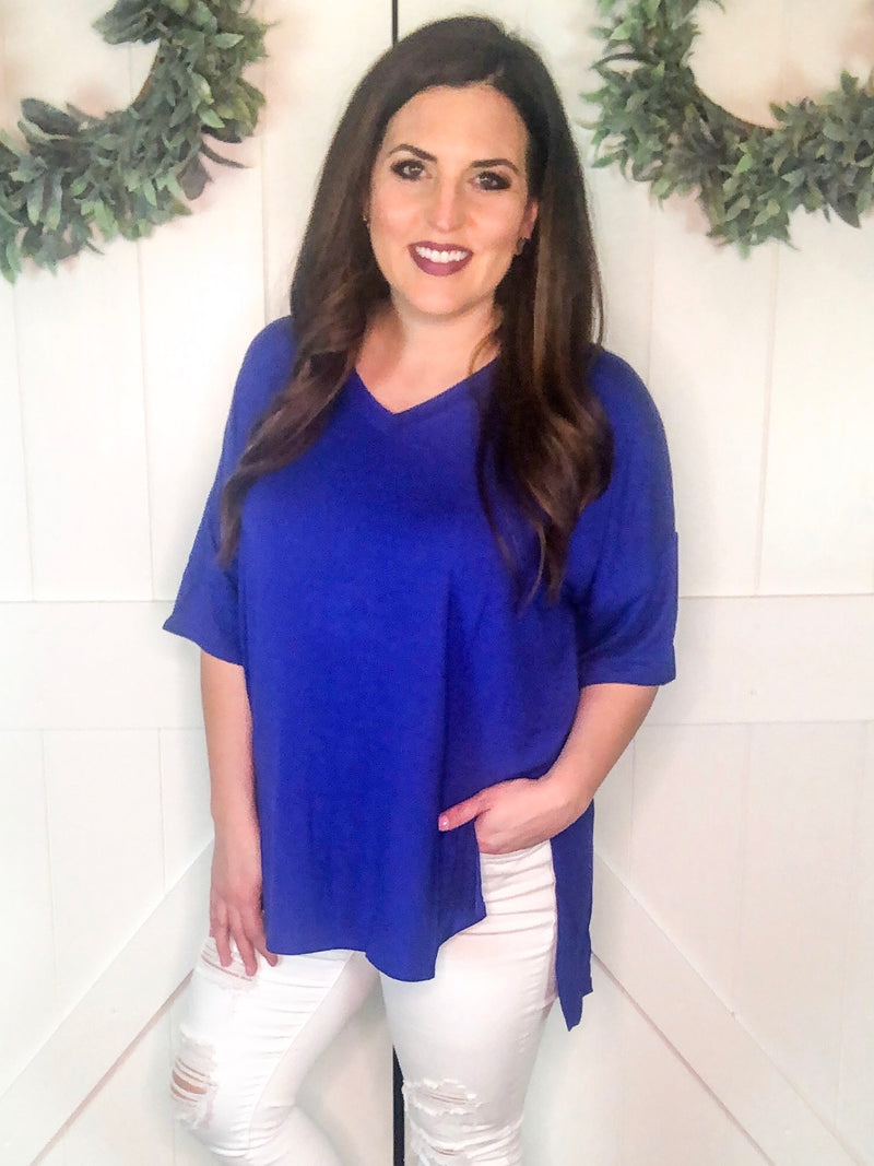 V-Neck Tunic in Blue