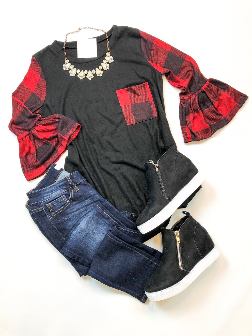 Buffalo Plaid Contrast Top with Ruffle Sleeves
