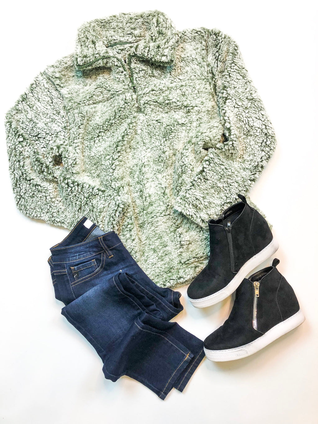 Green Sherpa Pullover