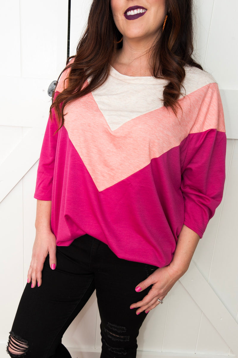 Pink Chevron Top