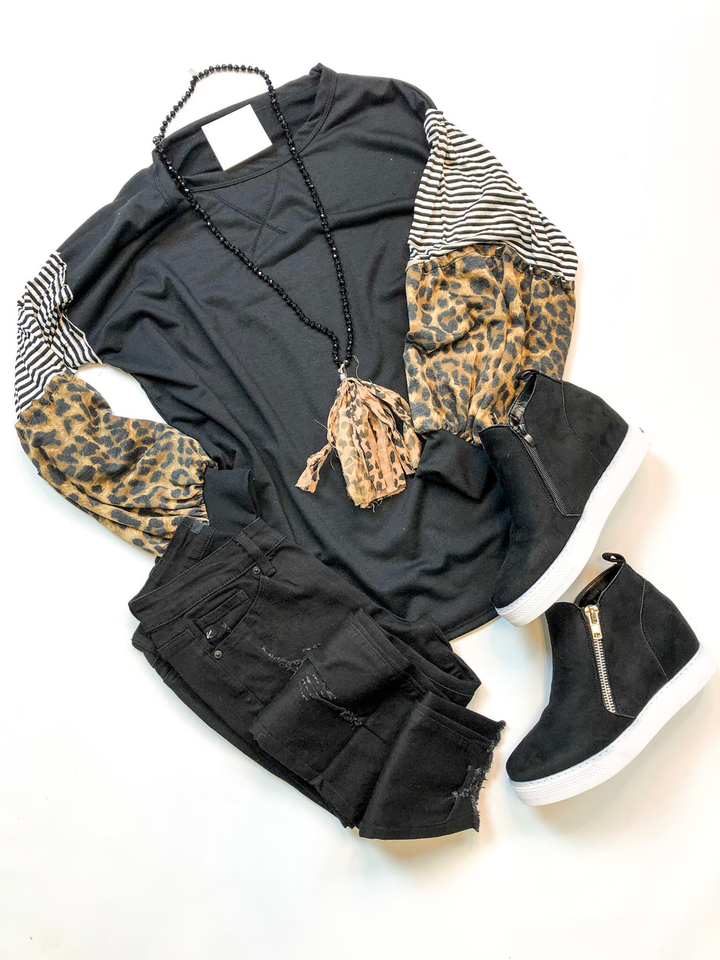 Leopard Color Block Top with Puff Sleeves