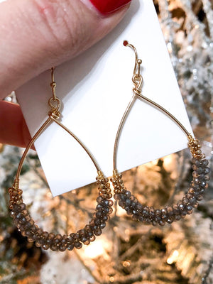 Beaded Hoop Earrings in Gray