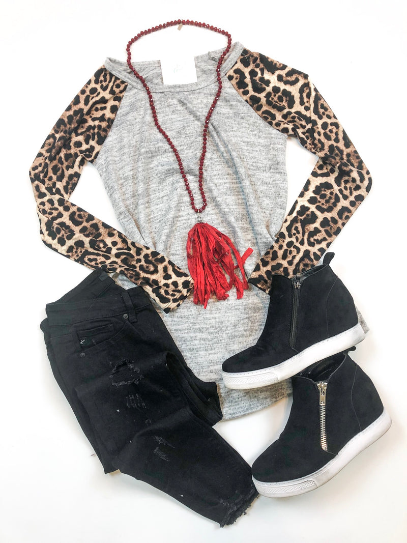 Leopard Sleeve Gray Tunic