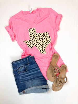 Hot Pink Texas Dalmatian Print T-Shirt