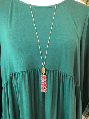 Red Beaded Rectangle Necklace