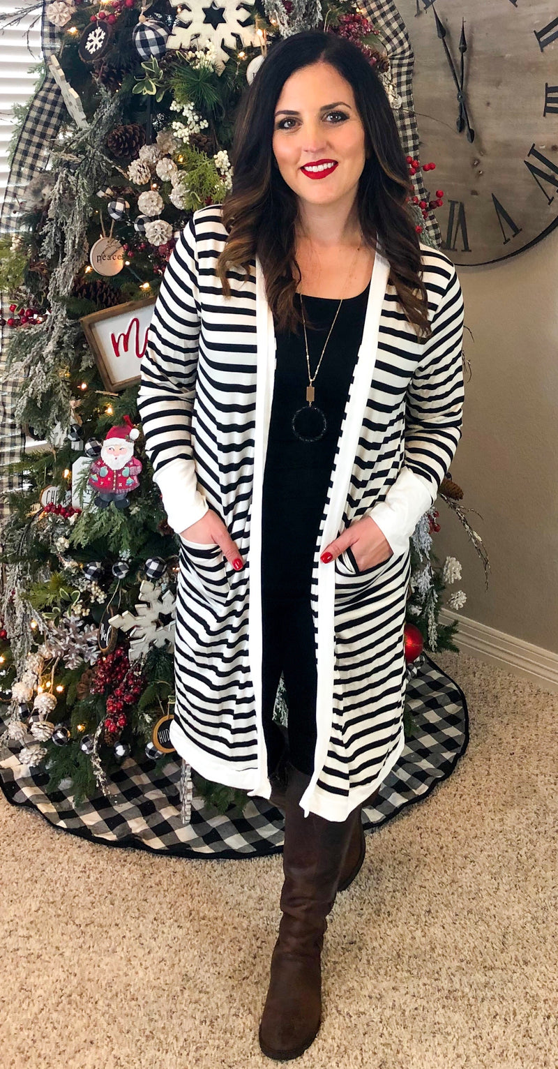 Black and White Striped Cardigan