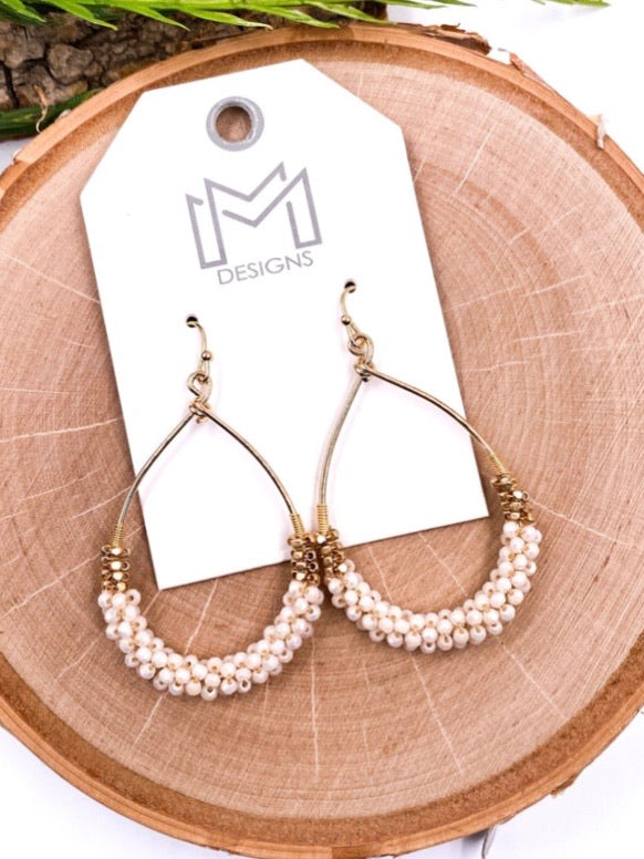 Ivory Teardrop Beaded Earrings