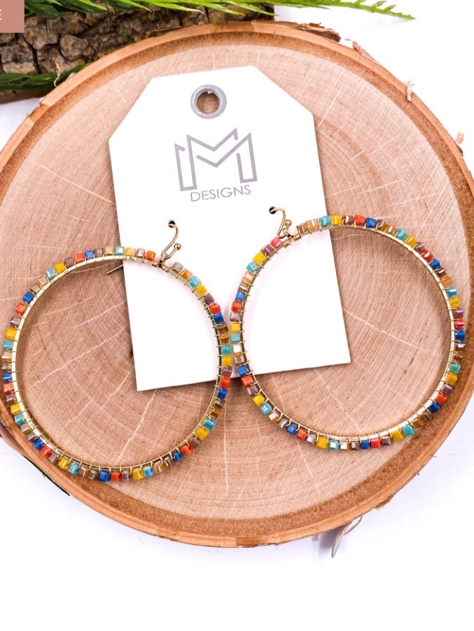 Multi Colored Beaded Ring Earrings