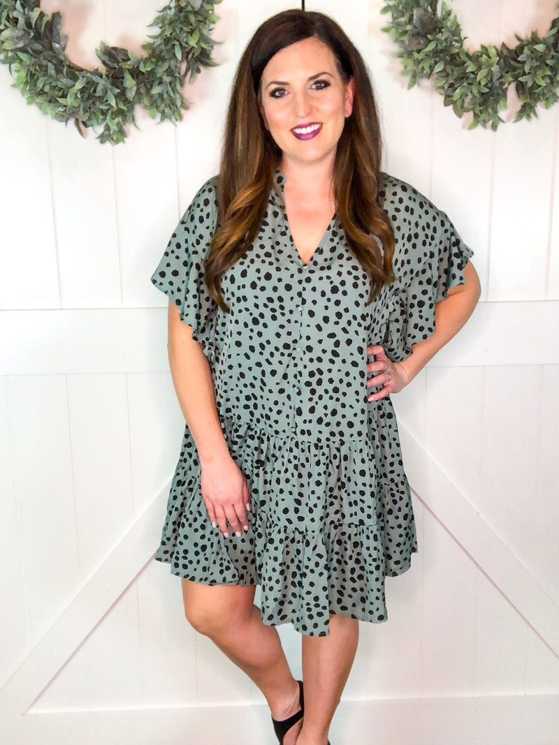 Animal Print Ruffled Sleeve Tier Dress in Sage