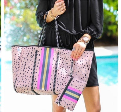 Pink Animal Print Neoprene Tote Bag