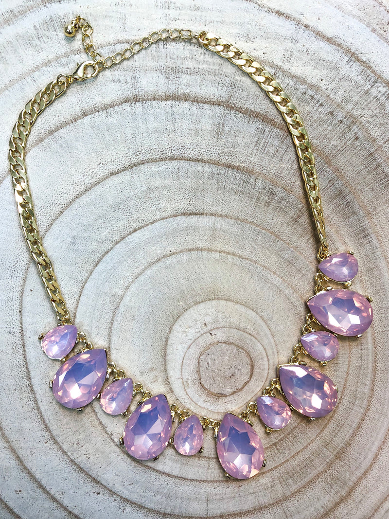 Pink Crystal Tear Drop Statement Necklace