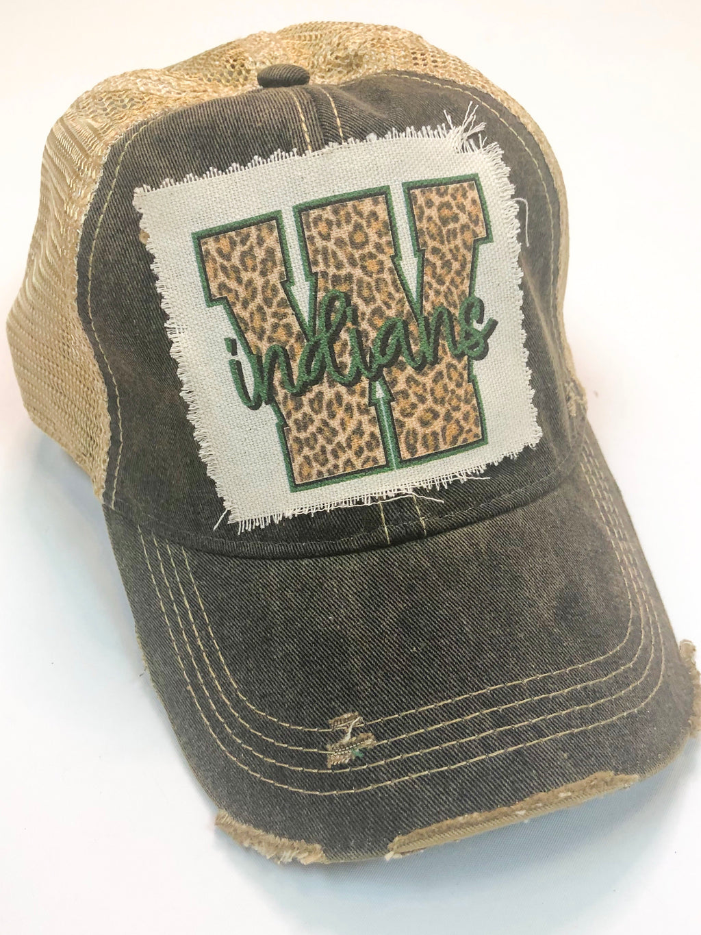 "Black Vintage Distressed ""W"" Hat Preorder"