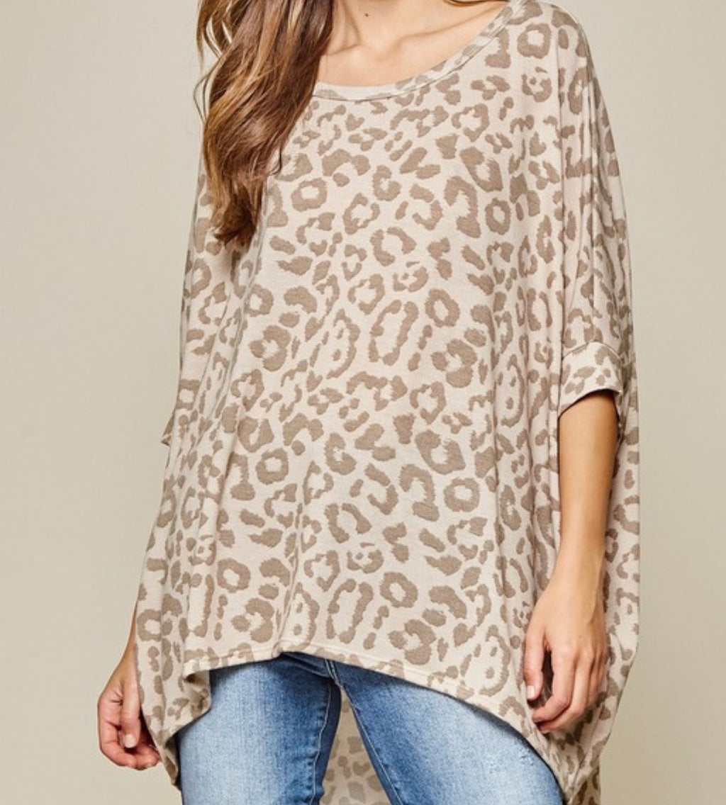 Leopard Knit Top in Taupe