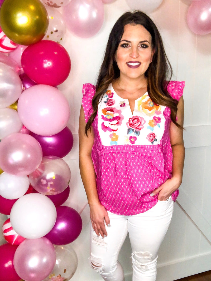 Pink and Floral Embroidered Top