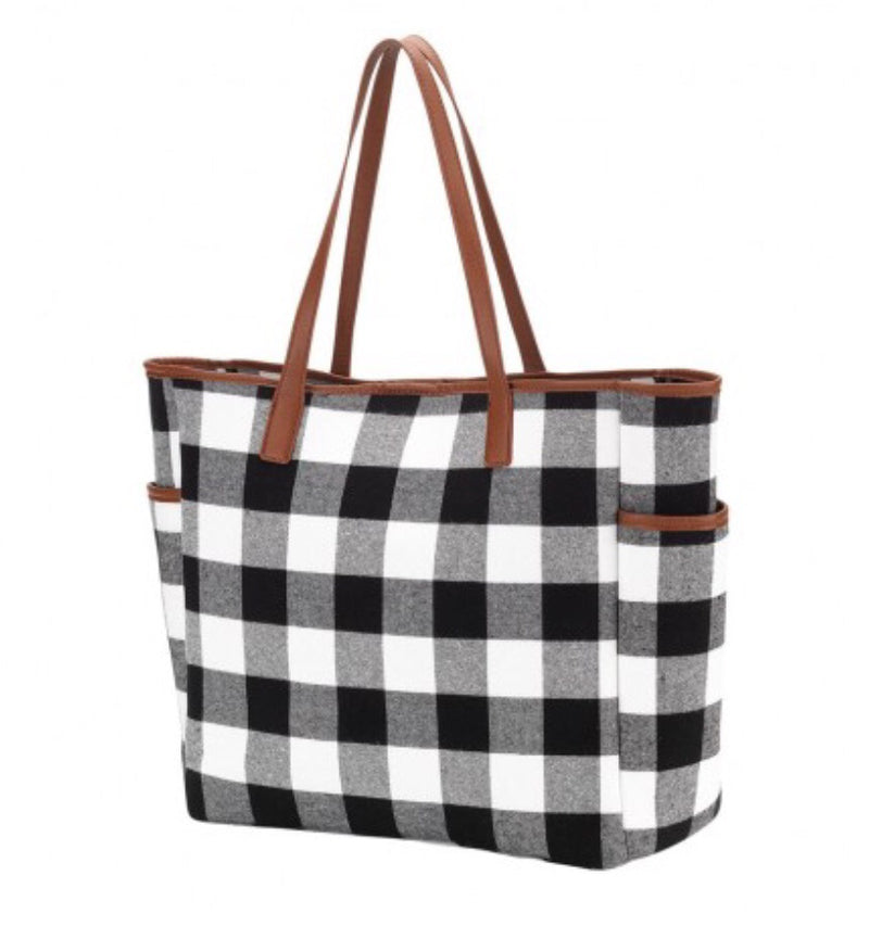Buffalo Plaid Tote Bag in Black and White