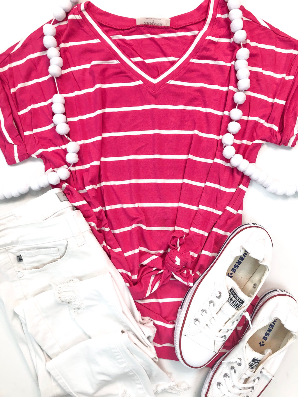 Hot Pink Stripe V-Neck Top