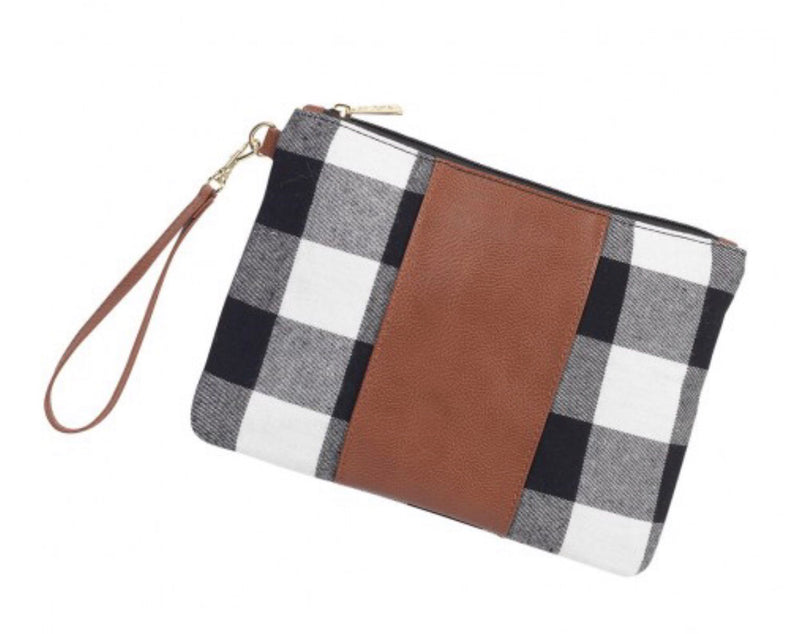 Buffalo Plaid Wristlet in Black and White