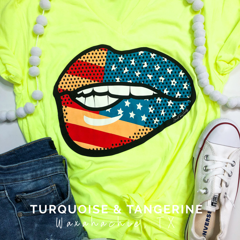 Neon Flag Lips T-Shirt
