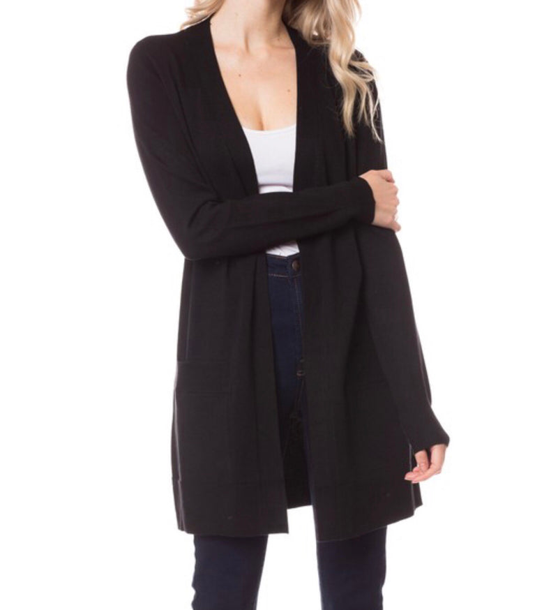 Open Front Cardigan in Black