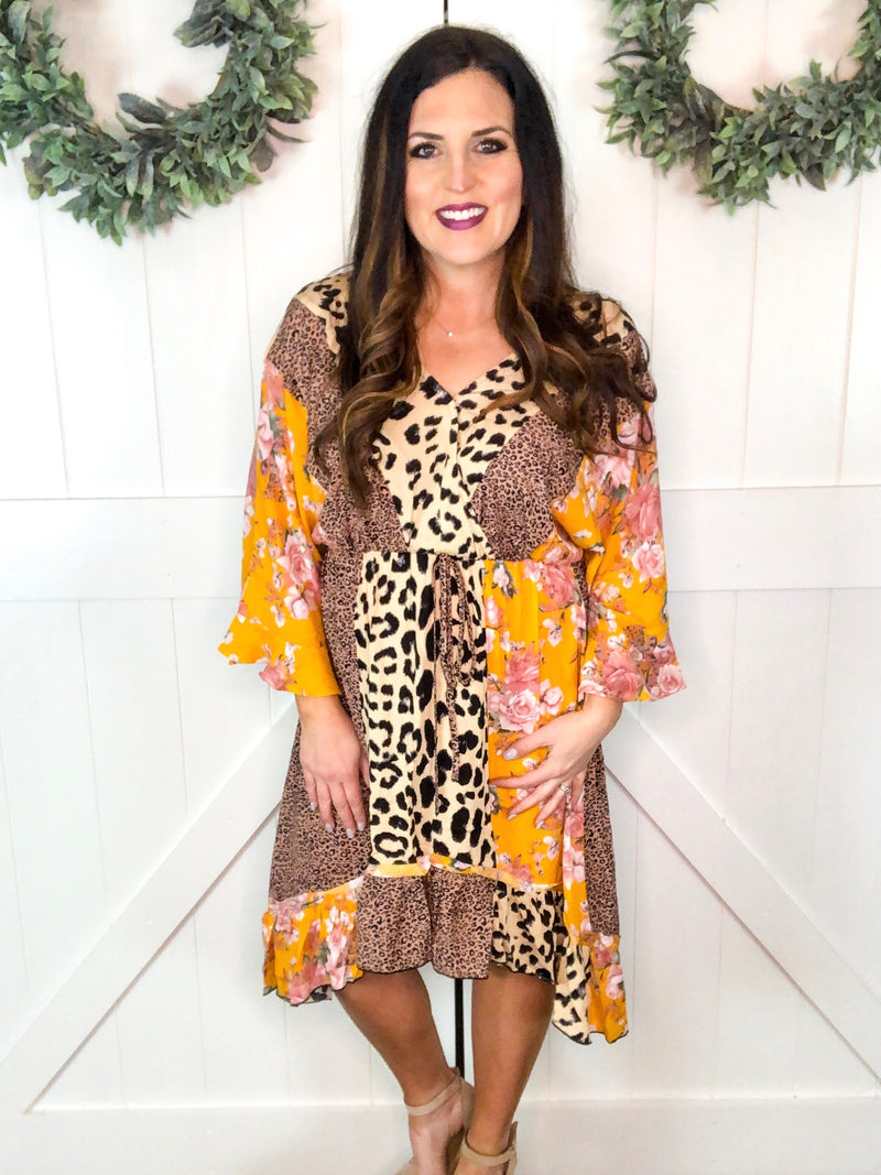 Leopard and Floral Hi Low Dress