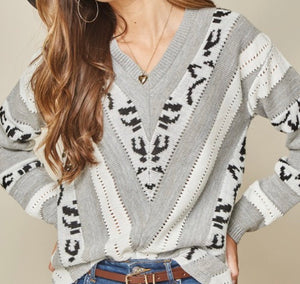 Gray Leopard Striped Sweater