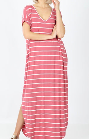 Rose Stripe Maxi Dress