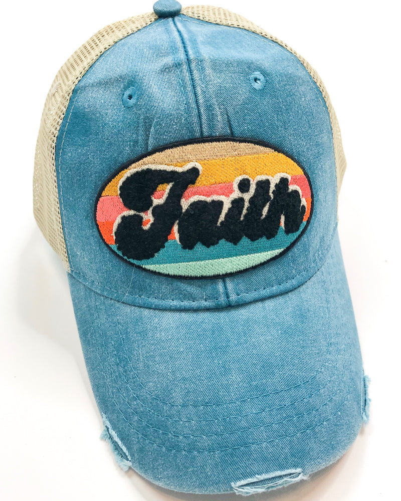Vintage Distressed Faith Hat in Teal