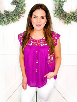Flutter Sleeve Floral Embroidered Top in Magenta