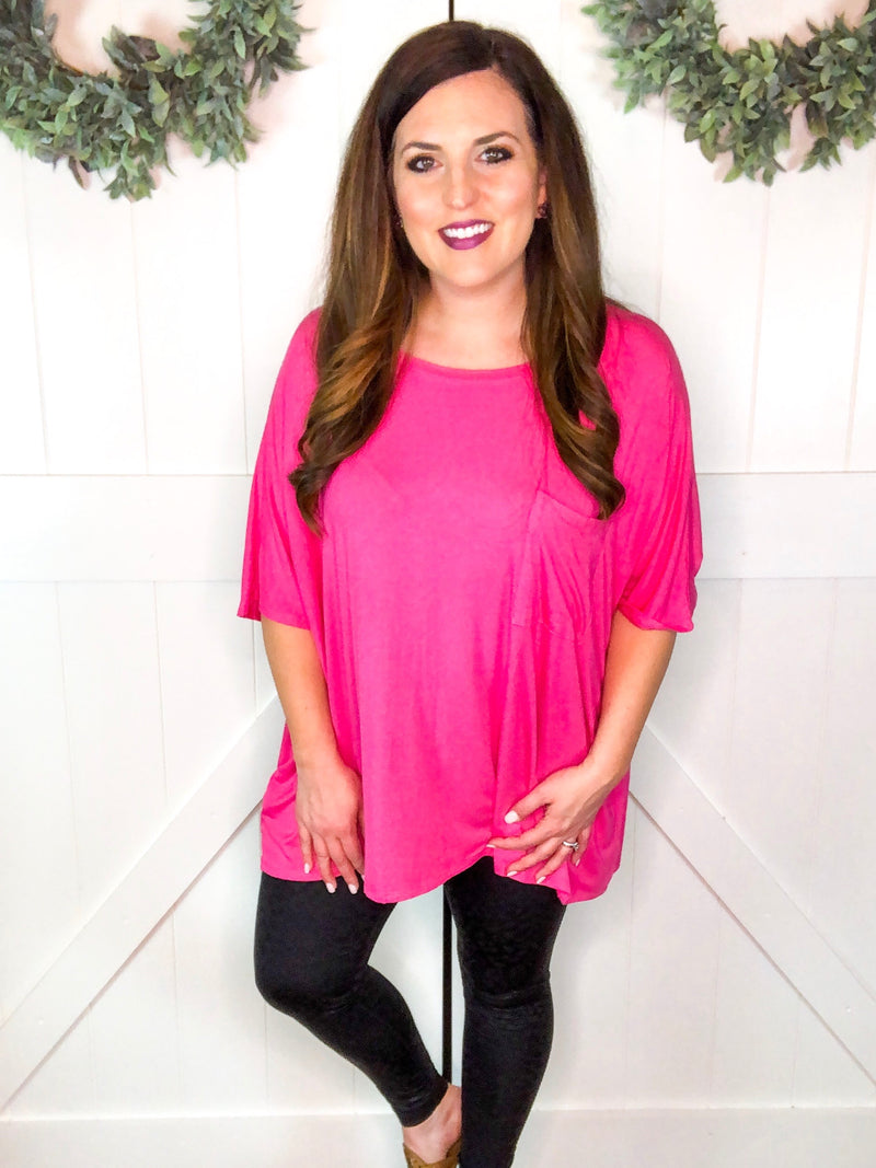 Scoop Neck Pocket Tunic in Hot Pink