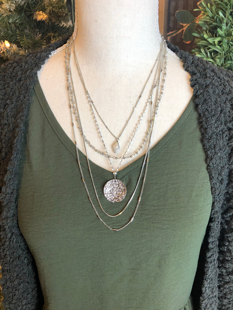 Boho Layered Necklace in Silver