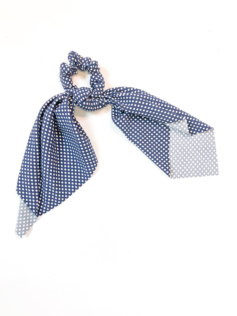 Polkadot Hair Tie with Scrunchi in Navy