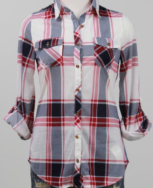 Red and Blue 3/4 Flannel