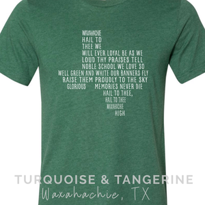 Waxahachie School Song T-Shirt on Heather Green Preorder